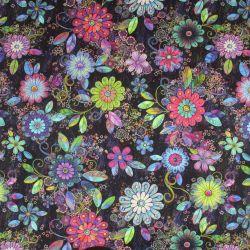 Teplákovina květy různobarevné- digitální tisk