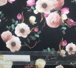 Teplákovina reální růžové květy na černé- digitální tisk vyrobeno v Turecku