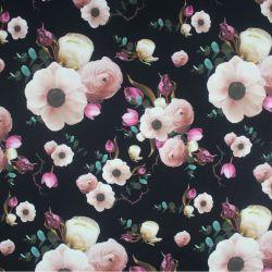 Teplákovina reální růžové květy na černé- digitální tisk