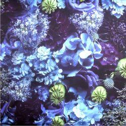 Teplákovina modré květy mix- digitální tisk
