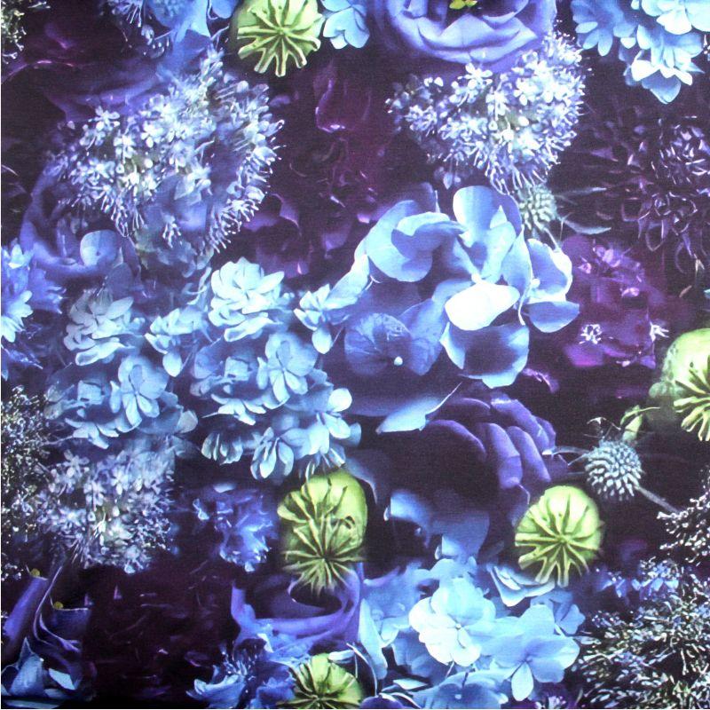 Teplákovina modré květy mix- digitální tisk vyrobeno v Turecku