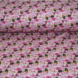 Teplákovina myška na růžové - digitální tisk vyrobeno v Turecku