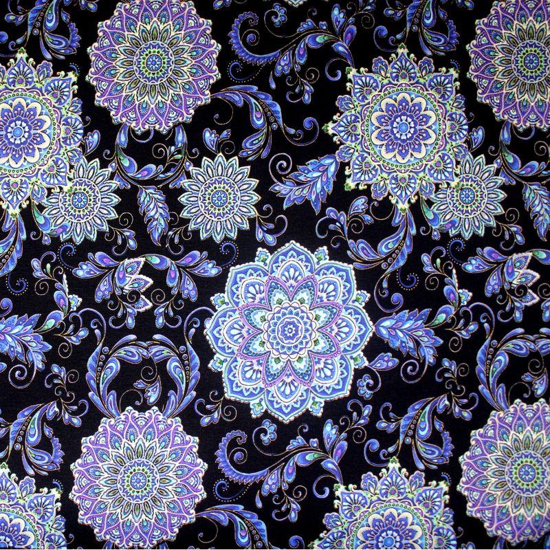 Teplákovina květy mozaika- digitální tisk vyrobeno v Turecku