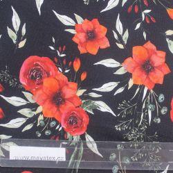 Jednolícní úplet červené květy na černé- digitální tisk EU-úplety atest pro děti