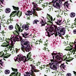 Jednolícní úplet květy- fialovo-růžová variace  - digitální tisk