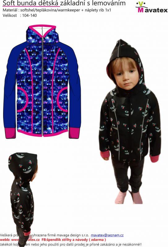 Elektronický střih -Soft bunda dětská základní s lemováním Mavatex