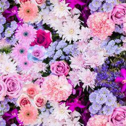 Fialovo-růžové květy - digitální tisk