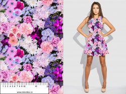 Fialovo-růžové květy - digitální tisk mavaga design