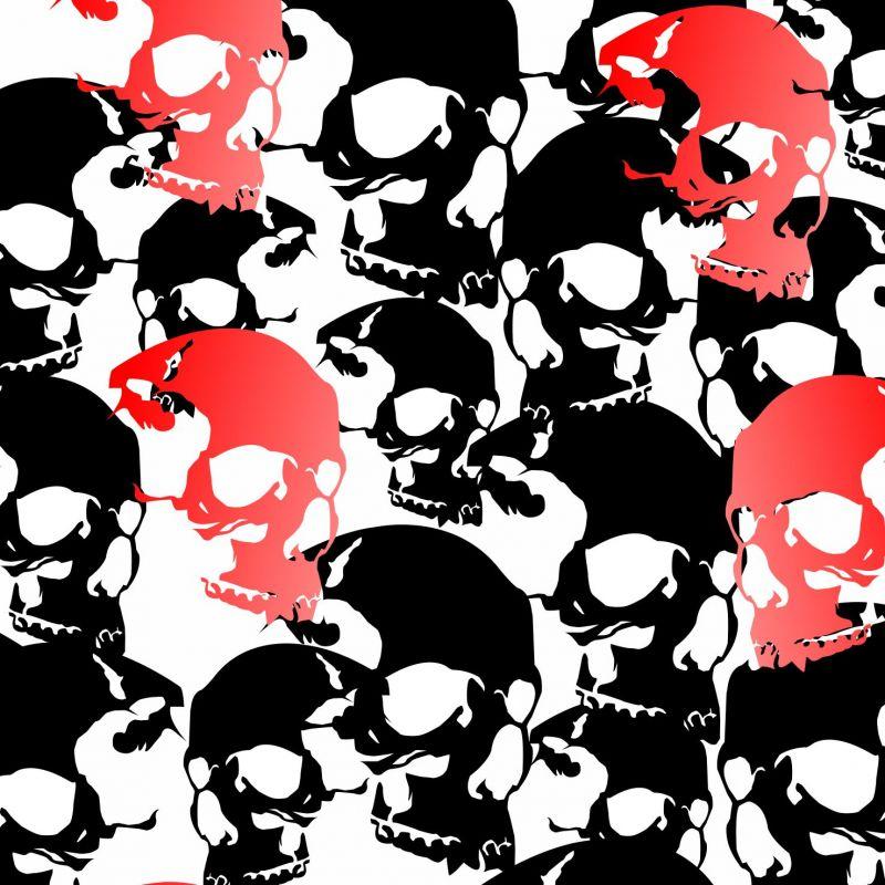 Černo-červené lebky- digitální tisk mavaga design