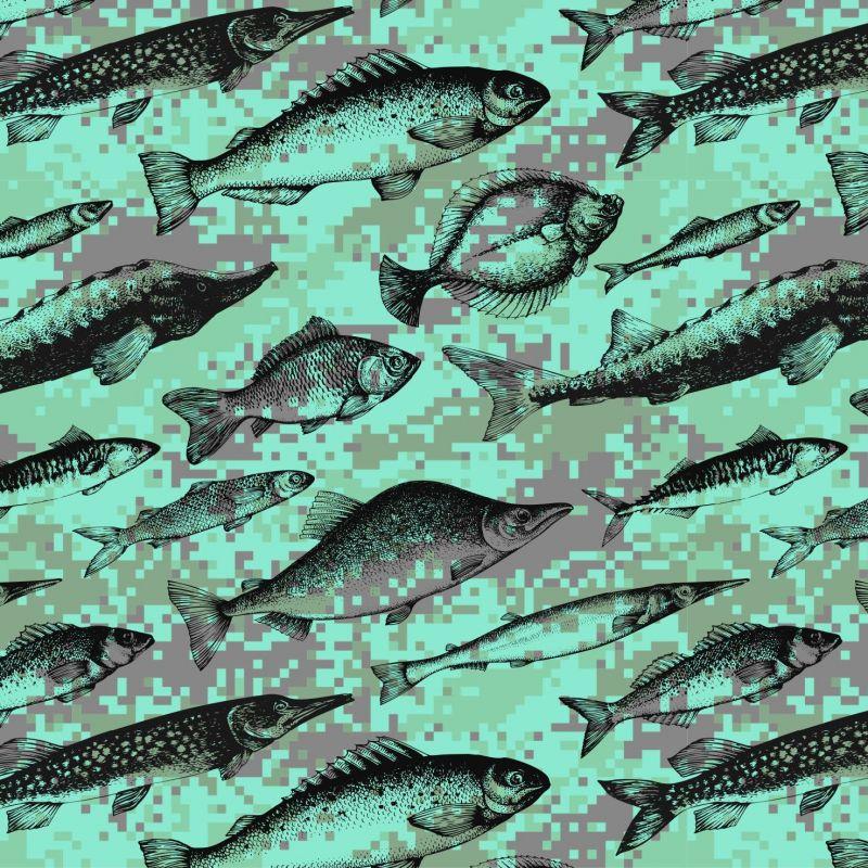 Rybičky na zelenkavé kamufláži- digitální tisk mavaga design