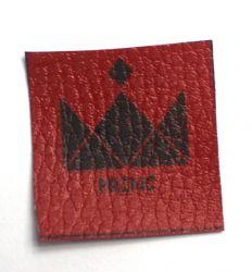 Koženkové čtverečky červené - 8ks vyrobeno v EU
