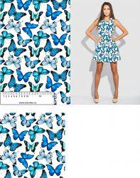 Modrý motýlek na bílé- digitální tisk mavaga design