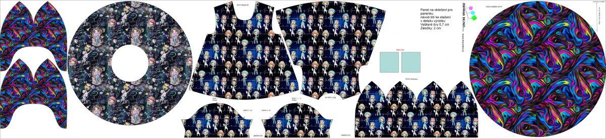 Panel oblečení na panenku vel 43 -panel 9 garzato vyrobeno v EU- atest pro děti bavlna