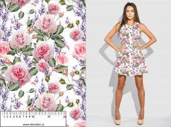 Růže na bílé- digitální tisk mavaga design