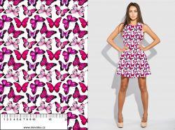 Růžový motýlek na bílé- digitální tisk mavaga design