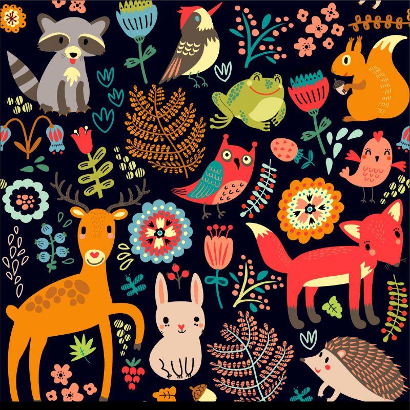 Zvířátka v lese-sublimační digitální tisk mavaga design