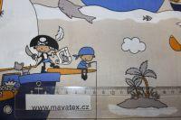 Světle hnědá bavlna s námořníky vyrobeno v EU- atest pro děti bavlna