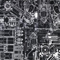 Jednolícní úplet motory na černé - digitální tisk