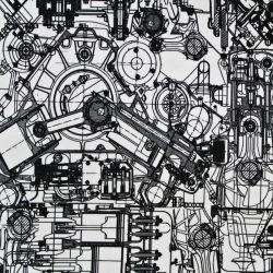 Jednolícní úplet motory na bílé- digitální tisk -2 jakost