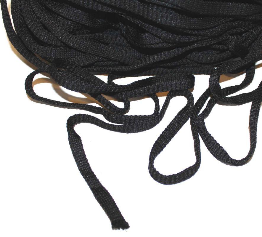 Plochá tkanice černá 0,8cm vyrobeno v EU