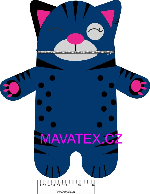 Pyžamožrout - kočička tmavě modrá -SOFT vyrobeno v EU