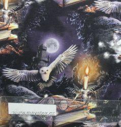 Teplákovina sovy a knihy z pohádky - 260 gsm vyrobeno v Turecku