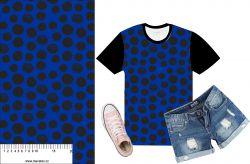 Akvarelové puntíky na modré- digitální tisk mavaga design