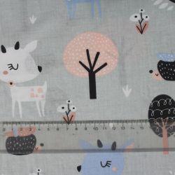 Modro-šedá bavlna daněk v lese vyrobeno v EU- atest pro děti bavlna