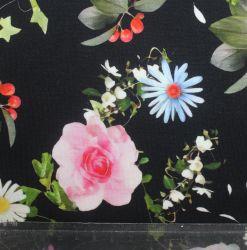 Teplákovina květy na tmavé- digitální tisk vyrobeno v Turecku