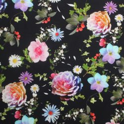 Teplákovina květy na tmavé- digitální tisk