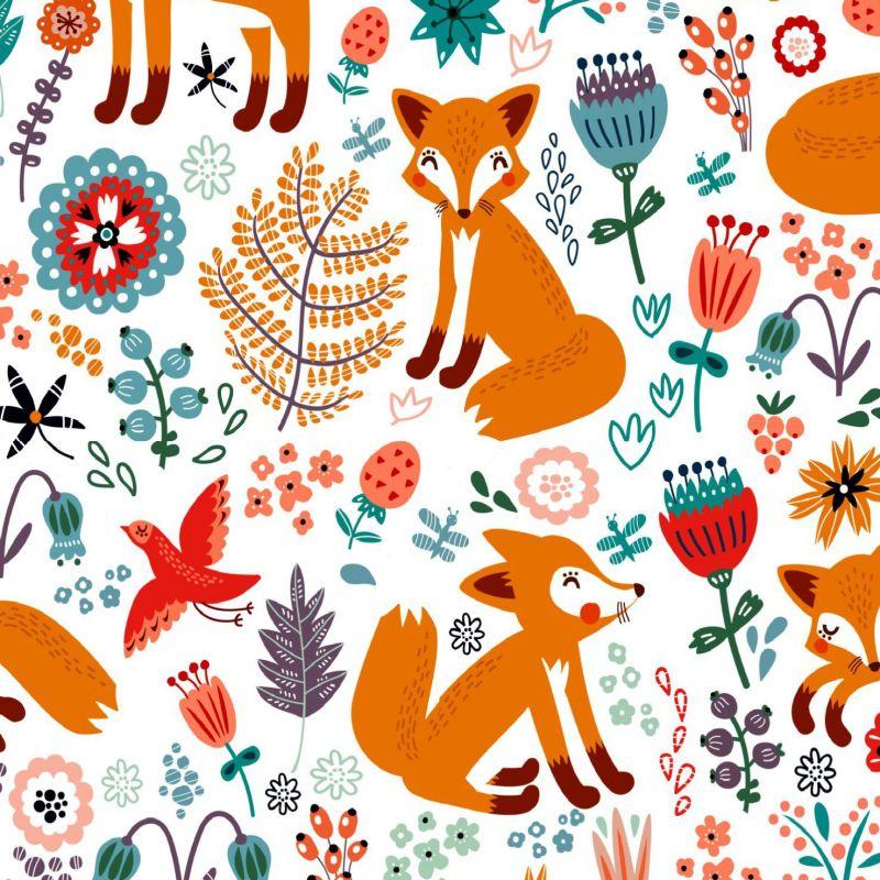 Lišky na bílé- digitální tisk mavaga design