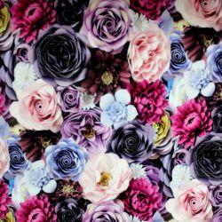 Teplákovina fialové květy - 260 gsm