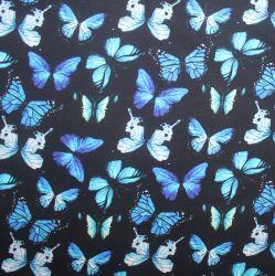 Teplákovina motýlkové na černé -270 gsm