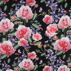 Teplákovina růže na černé- 270 gsm