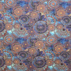 Jednolícní úplet zlaté mandaly na modré zdi -180 gsm