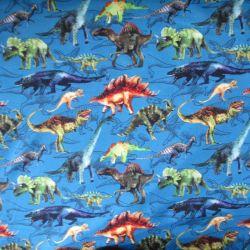 Teplákovina malovaní dinosaurové na modré – digitální tisk
