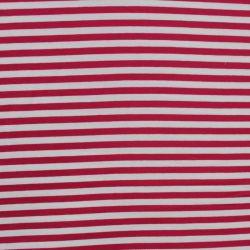 Jednolícní úplet s namořnickými pruhy - červenoo-bílá - 1cm