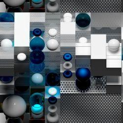 3D modré kuličky - digitální tisk