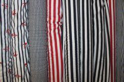 Jednolícní úplet s namořnickými pruhy - červenoo-bílá - 1cm EU-úplety atest pro děti