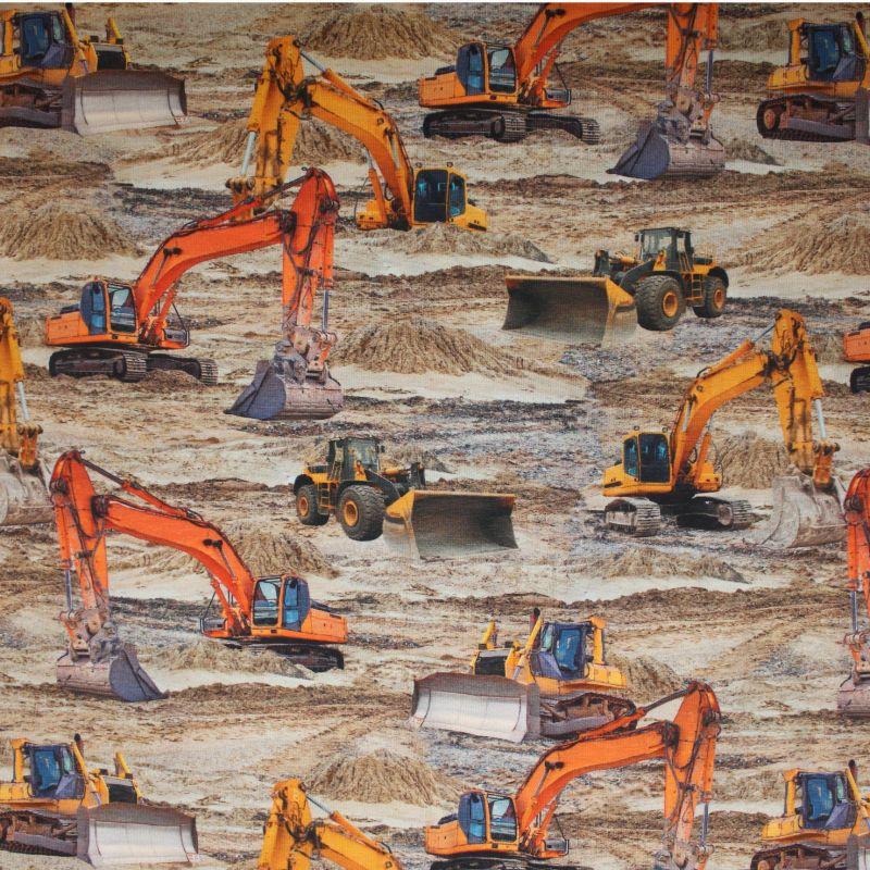 Jednolícní úplet pracovní stroje na písku- digitální tisk vyrobeno v EU