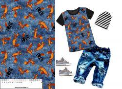 Liška od malého prince modrý jeans- digitální tisk mavaga design