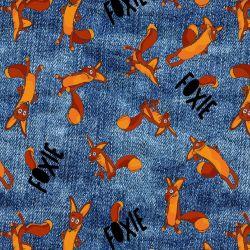 Liška od malého prince modrý jeans- digitální tisk | GARZATO 200gsm- funkční úplet počesaný, Kočárkovina , LYCRA 200, Micropeach, Softshell jarní 285 gsm, Softshell letní pružný 220gsm, Softshell zimní 320 gsm, TORINO 140 gsm -funkční úplet, DOLOMITY