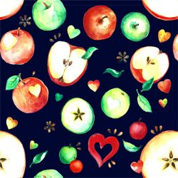 Jablíčka černé Míša - digitální tisk
