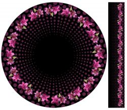 Panel na kolovou sukni 3- květy na černé