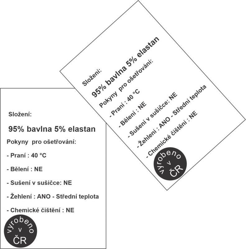 Prací štítky - 10 ks - bavlna +elastan vyrobeno v EU