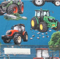 Teplákovina modrá traktory MIX- 270 gsm EU-úplety atest pro děti