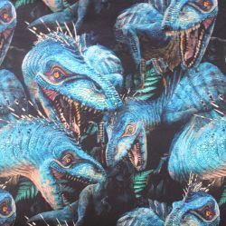 Teplákovina modří dinosaurové - 260gsm