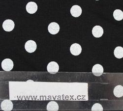 Teplákovina černá s bílými puntíky -1,2 cm EU-úplety atest pro děti