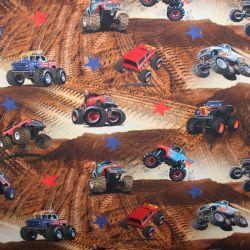 Jednolícní úplet teréní auta v poušti -digitální tisk
