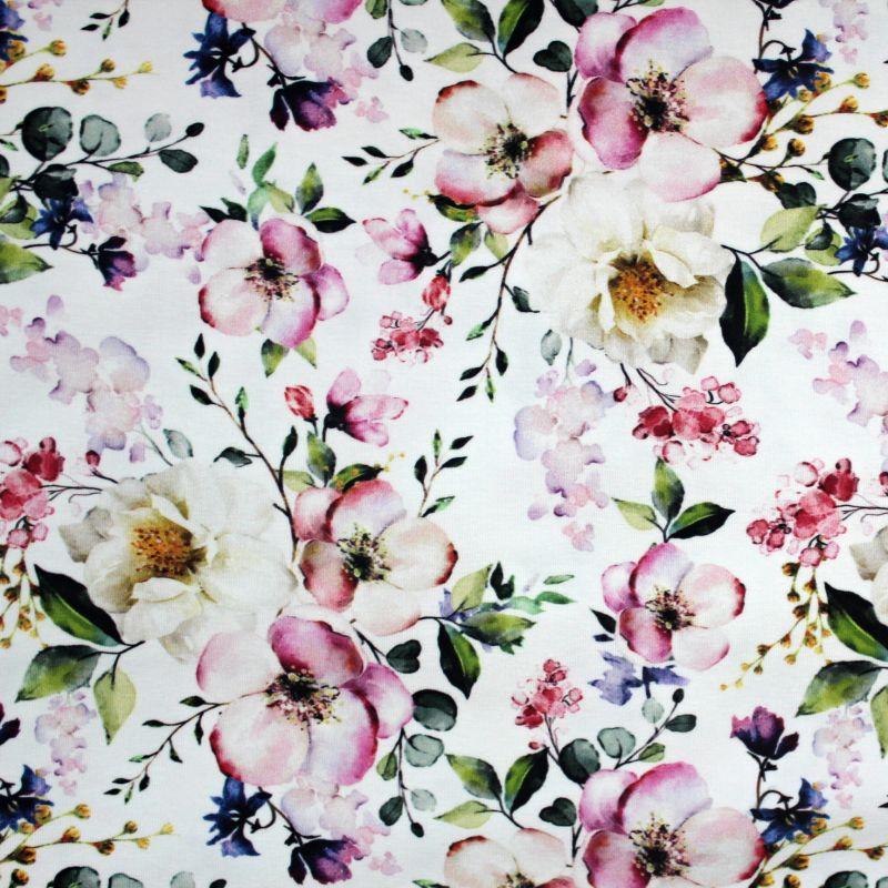 Bílá bavlna - třešňové květy vyrobeno v EU